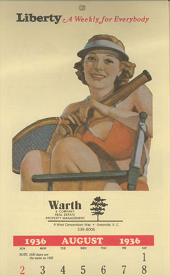 August 1936 calendar 1 - Event & Performance Schedule