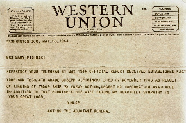 Western Union telegraph announcing death of Joseph Pisinski