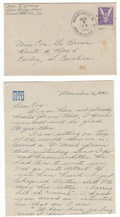 Maes 1943 letter - LETTERS HOME - Lunch and Learn Private Event